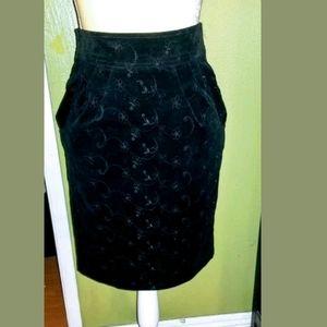 Vintage Betsey Johnson Corduroy eyelet Skirt